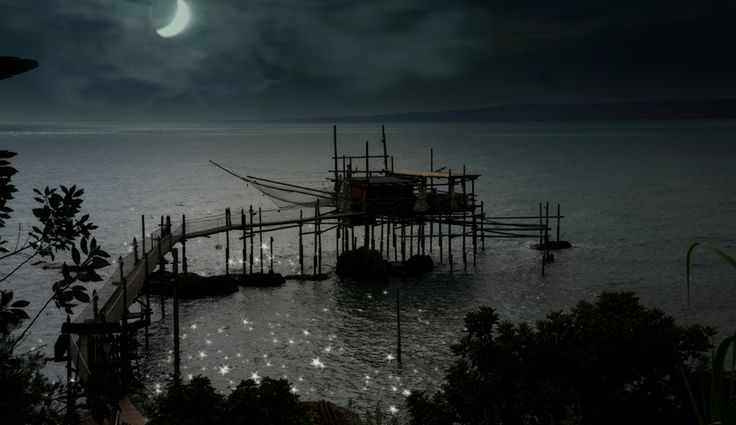 """Trabocco"" in the moonlight by Vittorio Chiampan"
