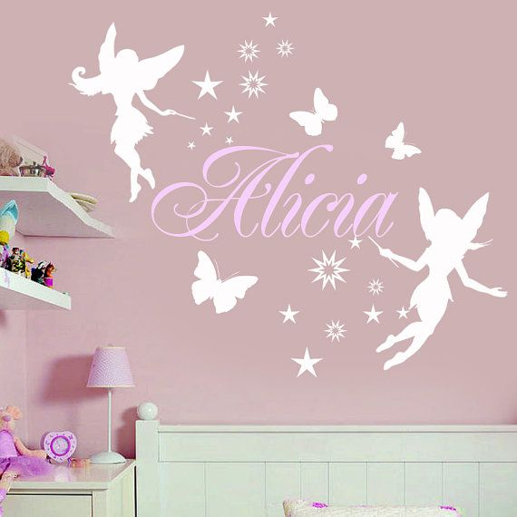 girls room decor fairies | Custom Girls Name Room Wall Vinyl Decal with Fairy, stars and ...