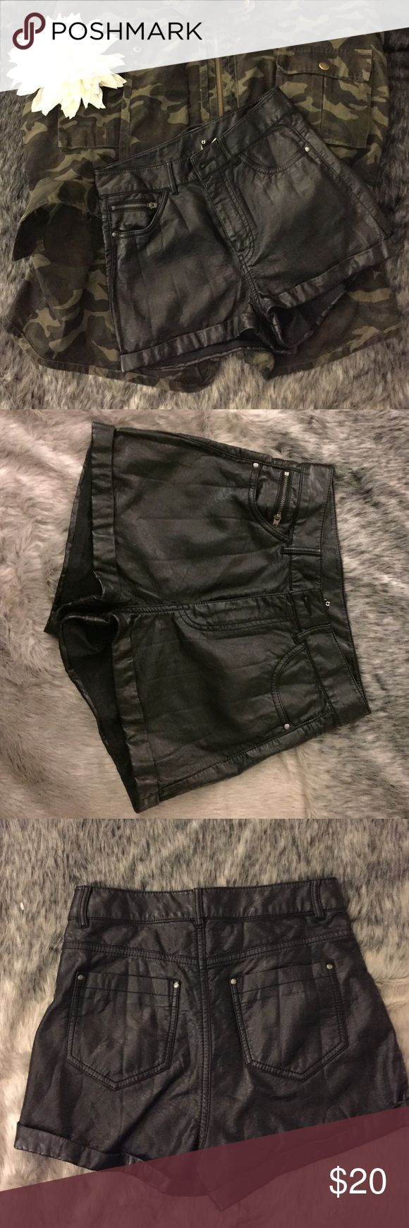 H&M vegan leather shorts Black vegan leather shorts. Pair with tights booties and a flannel for a fun edgy fall look! Shorts are mid rise and will hit just at or below the belly button H&M Shorts