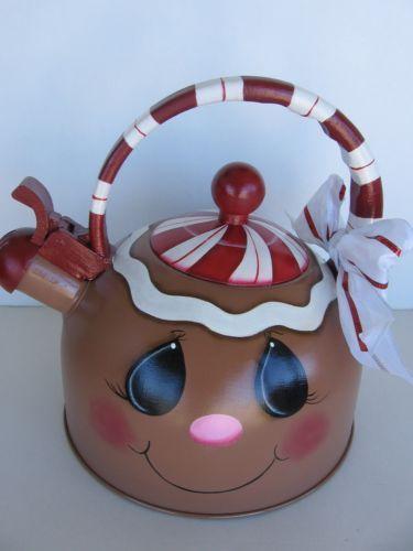 Hand-Painted-Gingerbread-Candy-Cane-Peppermint-Teapot-Kettle-Tea-Pot