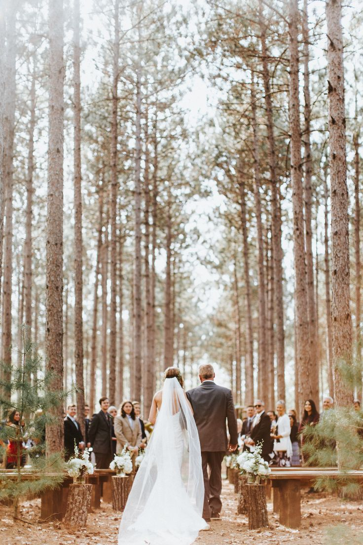 Wisconsin Wedding Venue wedding in the woods outdoor ceremony woodsy woodland tall trees pines