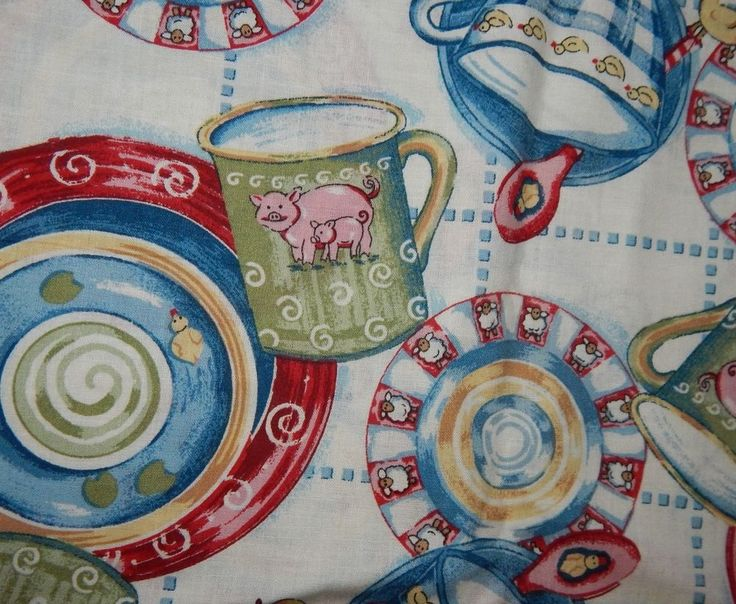 cotton quilt fabric kitchen dishes nursery country farm BTY duck sheep pig cup #SpringsIndustries