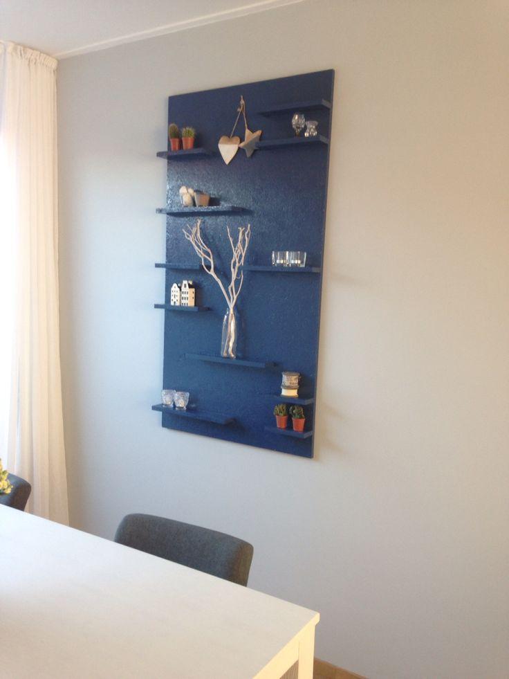 DIY wandbord blauw hout