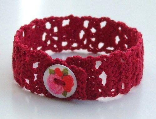 Lacy crochet bracelet -  free pattern, fav'd on Ravelry