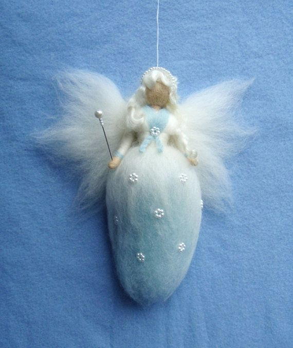 WINTER FAIRY needle felted Wool Doll Fairies Baby Soft Sculpture Waldorf Inspired