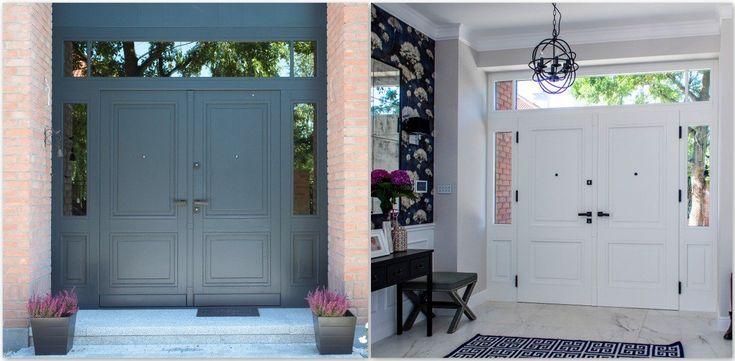 Kolejne drzwi z cyklu dwukolorowych. Ekskluzywne drzwi zewnętrzne od frontu szaro-niebieskie, natomiast od środka posiadłości, malowane w bieli. Exclusive exterior doors, white inside and blue outside