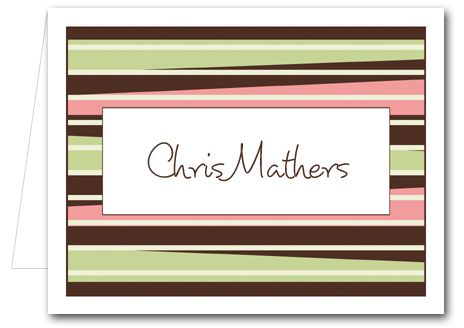Note Cards: Brown-Green-PeachStripes Thank You Notes, Personalized Note CardsCream Stripes, Personalized Note, Brown Green Peaches Strips, Note Cards, Brown Green Peaches Stripes