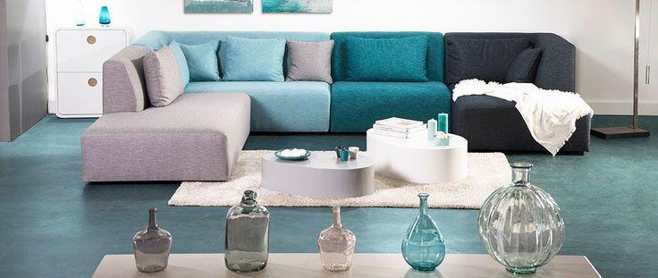 Canapé modulable design bleu 365cm compo 2 PLURIEL