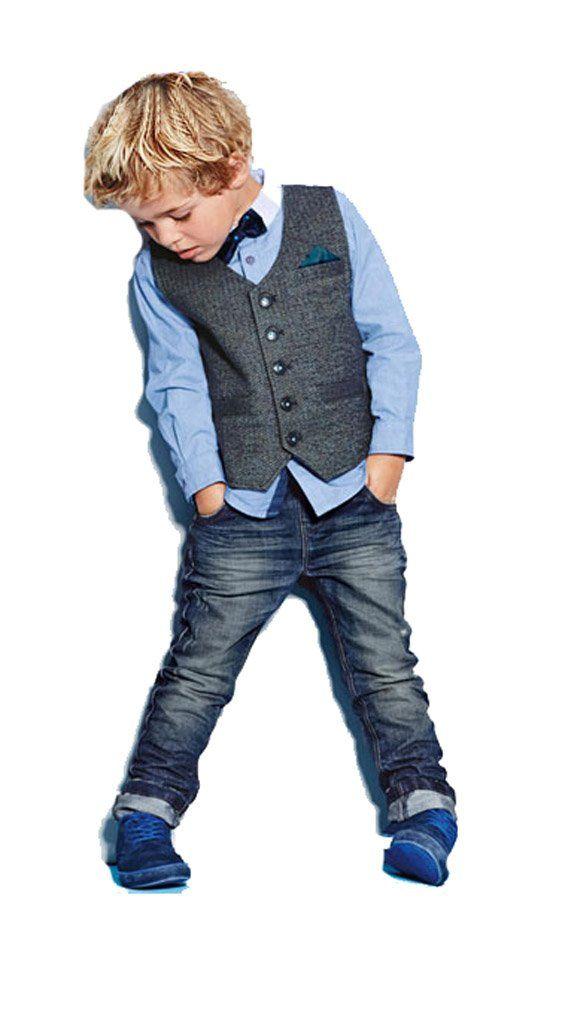 Amazon.com: Little Big Boys Formal Wear Outfit Shirt BowTie Vest Jeans Blue 18m -7t: Clothing
