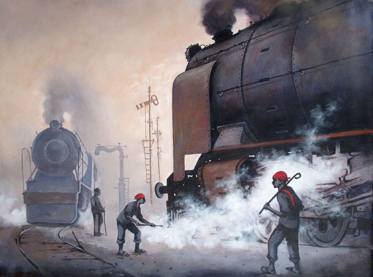 Indian Steam Locomotives 09 Painting, Acrylic on canvas art by Kishorepratim Biswas. Buy Indian Art online at BestCollegeArt.com