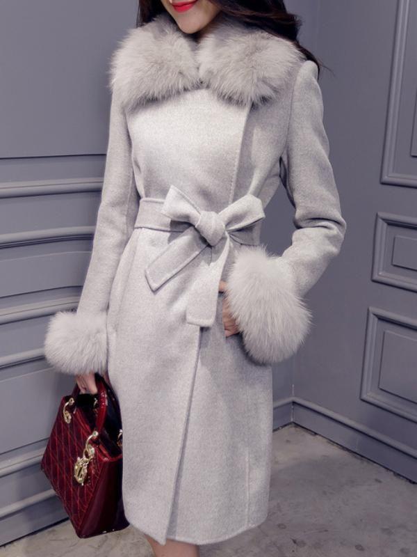 トレンドありフォックスファーファッションラシャアウターコート - レディースファッション激安通販|20代·30代·40代ファッション