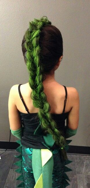 Crazy awesome dragon or dinosaur hair!  A huge scary scaly braid perfect for the roarsome girl you love.