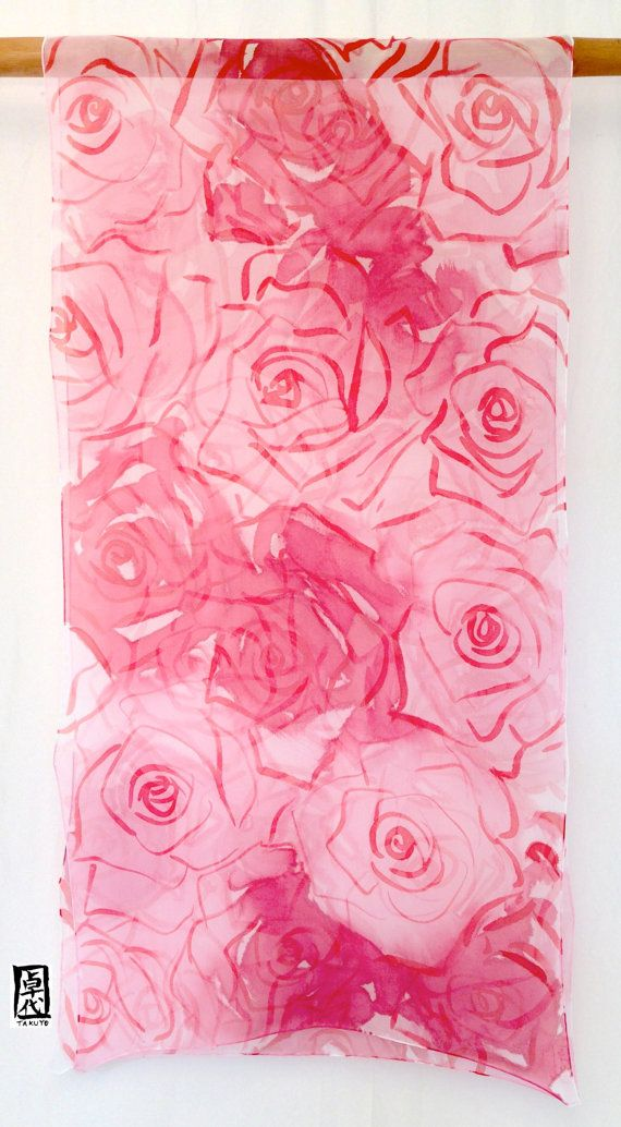 Hand Painted Large Red silk scarf Roses Red por SilkScarvesTakuyo