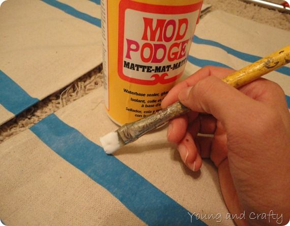 Brush MP along edges of painter's tape before painting dropcloth to stop paint seepage under tape.  Use dropcloth for curtains, tablecloths, etc...
