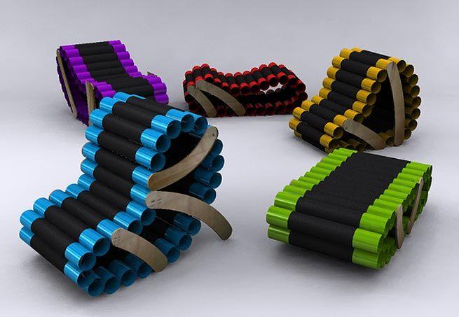 Projetada pelo designer de produtos peruanoLuís Miguel Hadzich, a cadeira é inspirada nas esteiras rolantes dos tanques de guerra, feita com tubos coloridos de PVC cobertos com couro sintético