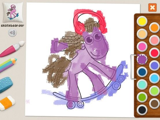 """""""Skateboarder pony"""" - Julia (age 5). #coloring #pages #memollow"""