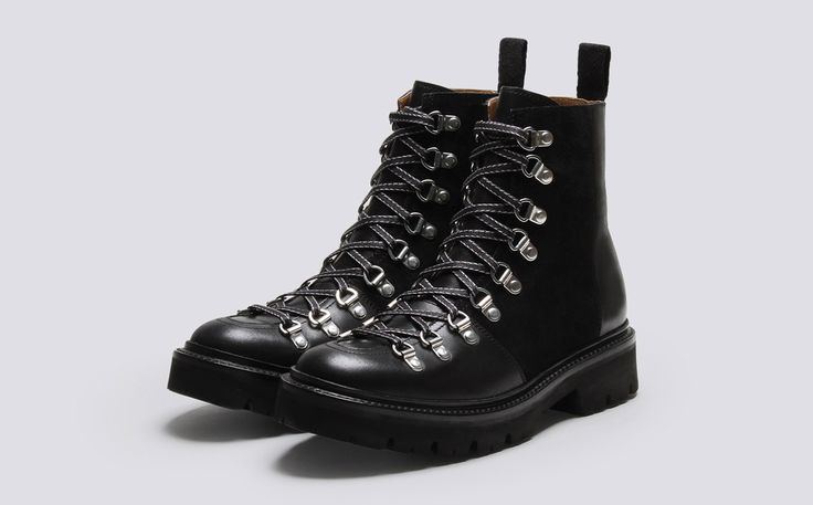 Grenson Shoes & Accessories | Nanette Womens Ski Boot in Black Colorado Leather on a Commando Sole - Three Quarter View