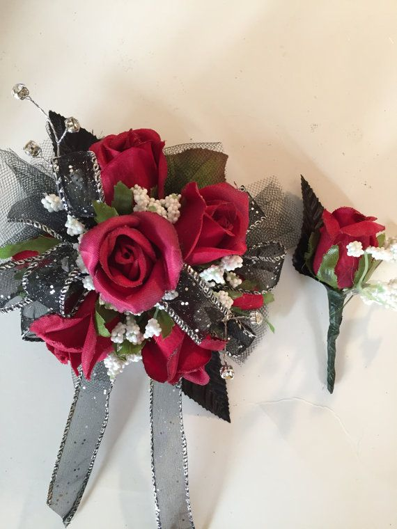 Prom Corsage. Black and Red Silk Wrist by ForeverRememberToday