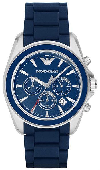 Montre Emporio Armani AR6068 - Homme - Quartz - Chronographe - Cadran en Acier inoxydable Bleu et Argent - Bracelet en Caoutchouc Bleu - Date