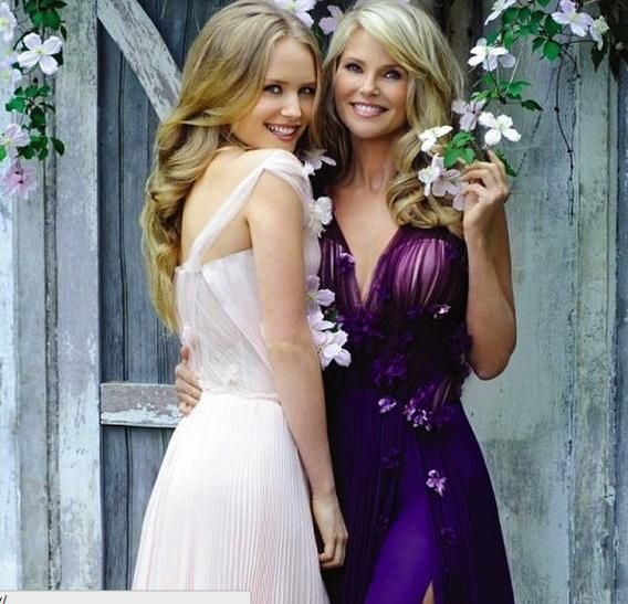 Christie Brinkley and Sailor Brinkley Cook in flower-covered dresses.