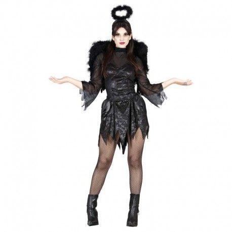 Disfraces Halloween mujer | Disfraz de ángel negro. Los ángeles malvados también existen. Contiene vestido con mangas de gasa y diadema. Talla M. 17,95€ #angel #angelnegro #disfrazangel #disfraz #halloween #disfrazhalloween #disfraces