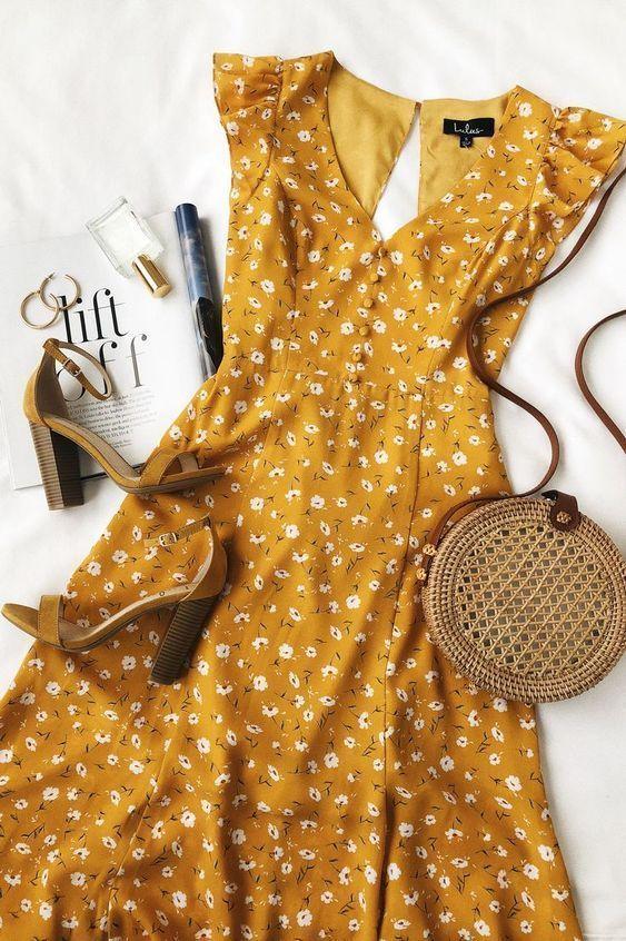 Frisch gepflückter Senfgelb Blumendruck rückenfrei Maxikleid- # rückenfrei #Dress