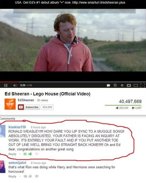 Oh Ron, following in ur dads muggle-loving footsteps