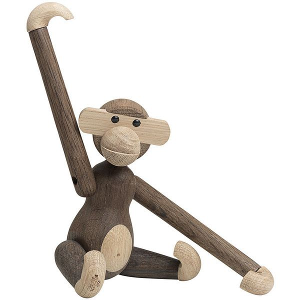 Kay Bojesen Monkey Wooden Figurine - Small - Smoked Oak ($168) ❤ liked on Polyvore featuring home, home decor, brown, wood home decor, wood figure, wooden figurines, wooden home decor and wood figurines