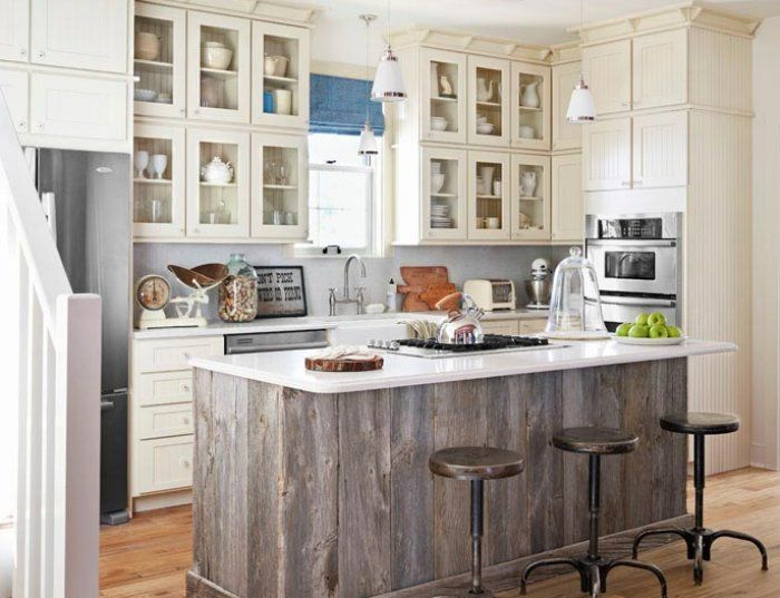 Entrancing Refurbished Wood Kitchen Island With White Granite Countertops  Also Beadboard Kitchen Cabinets And Clear Glass