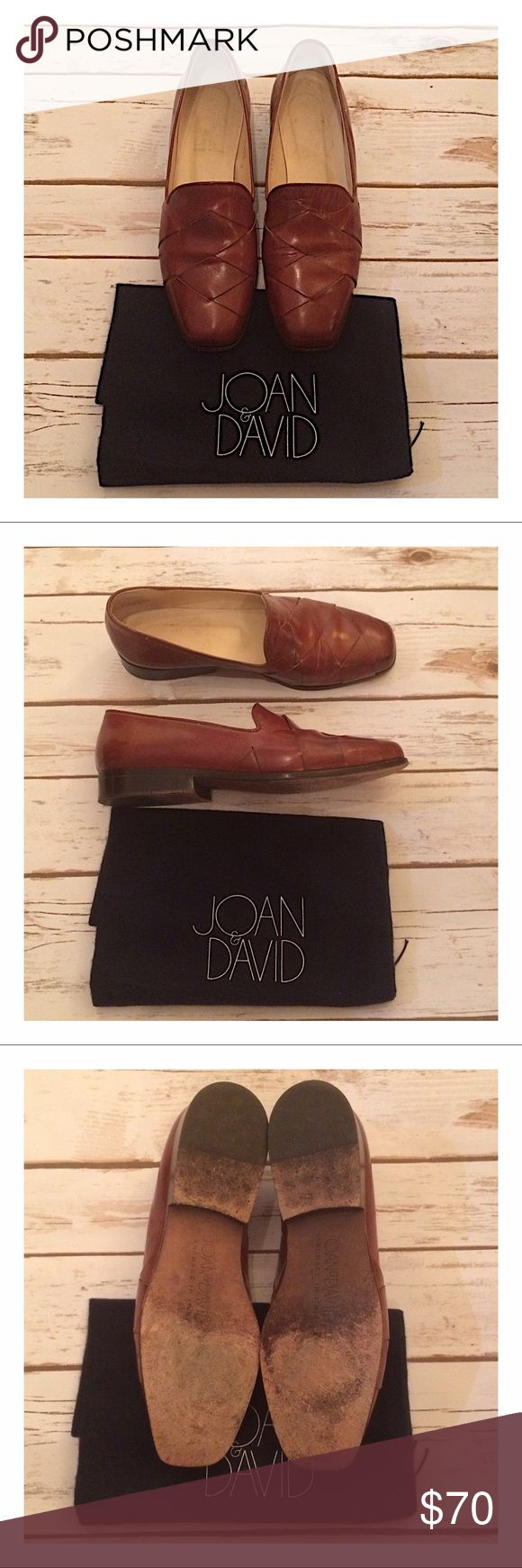 Joan & David luggage calf woven loafers Warm brown leather handmade in Italy. Excellent condition! Joan & David Shoes Flats & Loafers