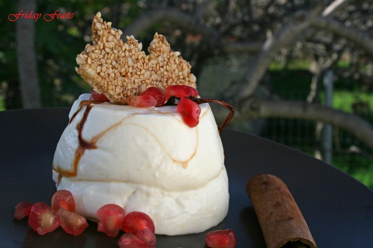 Cinnamon Panna Cotta with Pomegranate Caramel & Scrumptious Sesame Crisps  Whiskey-Glazed Pancetta with Saffron Rissoto  4 Recipes for a Non-Traditional Italian Christmas Dinner | Friday Feasts  http://2via.me/jaUWhXJL11