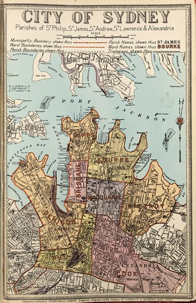 City of Sydney borough map. Available to purchase as an archival print. Contact the Library Shop for details. Print number C006720043