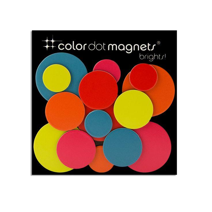 ThreeByThree Seattle ThreeByThree - Color Dot Magnete, 15 Stück Verschiedene Farben