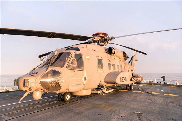 A Canadian CH-148 Cyclone sits onboard HMCS Halifax during sea trials in the Atlantic off the coast of Nova Scotia on April 18, 2015.   Photo: Jacek Szymanski, Navy Public Affairs IS16-2015-0001-005