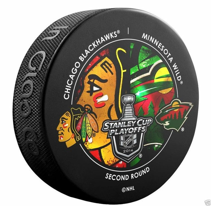 CHICAGO BLACKHAWKS vs MINNESOTA WILD 2014 Playoffs Round 2 NHL DUELING LOGO PUCK