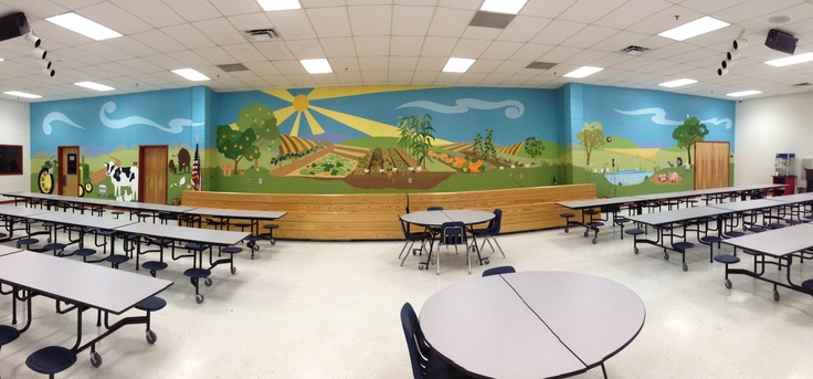 Farm mural in an elementary school cafeteria. www.athenswallmurals.com