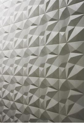 Faceted ceramic tile by Urban Archaeology; http://www.urbanarchaeology.com/tile_web/index.html - Handmade tiles can be colour coordinated and customized re. shape, texture, pattern, etc. by ceramic design studios