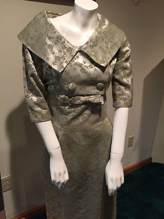 Vestido de Cóctel Vintage brocado 2 piezas, vestido de meneo de la década de 1950, vestido de chaqueta de la vendimia