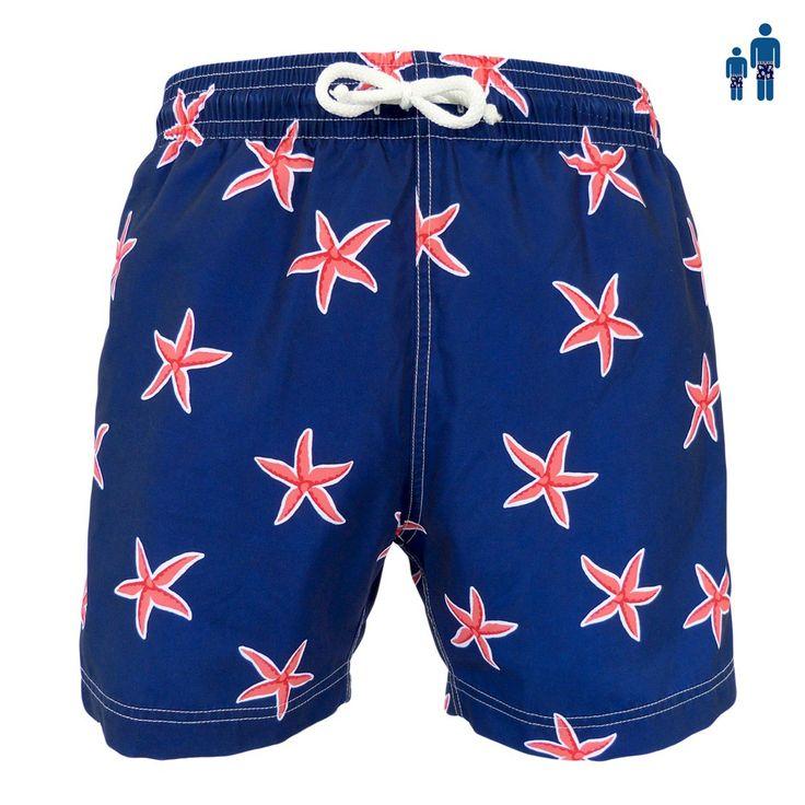 Jules - Maillot short de bain homme bleu marine starfish - Les Loulous de la plage