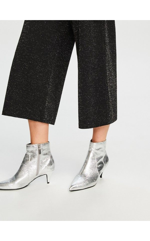 Srebrne Botki Na Niskim Obcasie Buty Srebrny Reserved Kitten Heel Ankle Boots Silver Kitten Heels Heeled Ankle Boots