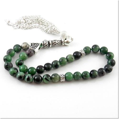 Raw emerald Turkish prayer beads