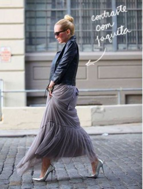 tulle skirt with moto jacket