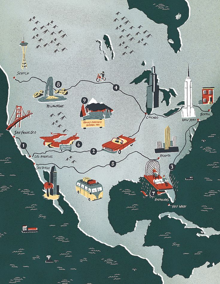 Interactive Map Usa Road Trip%0A Sam Brewster  An American road trip inspired map illustration for Swedish  magazine  Hemma med Ernst