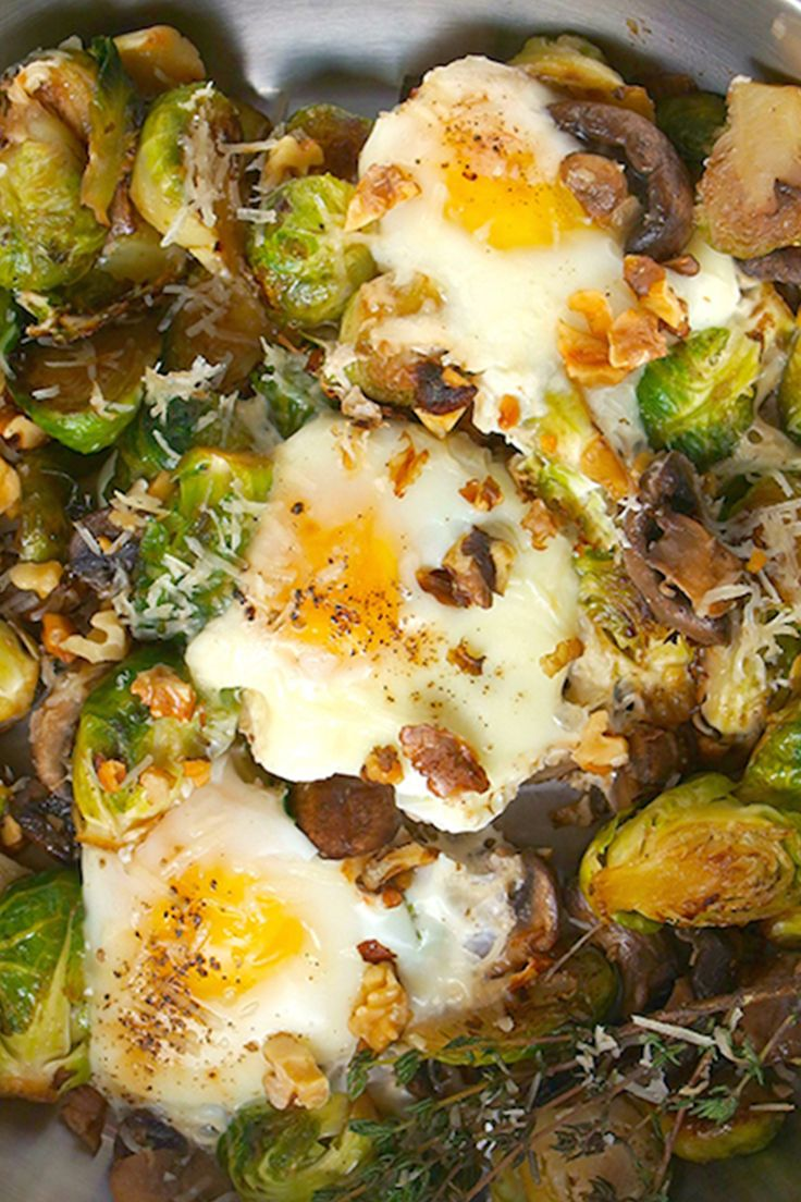 Fried eggs with mushrooms and brussels sprouts: Get the recipe.