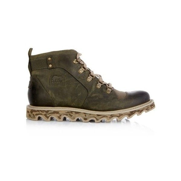 Sorel Mad II leather and canvas ankle boots ($222) ❤ liked on Polyvore featuring men's fashion, men's shoes, men's boots, green, shoes, mens leather ankle boots, mens leather boots, mens canvas boots, mens leather shoes and sorel mens boots