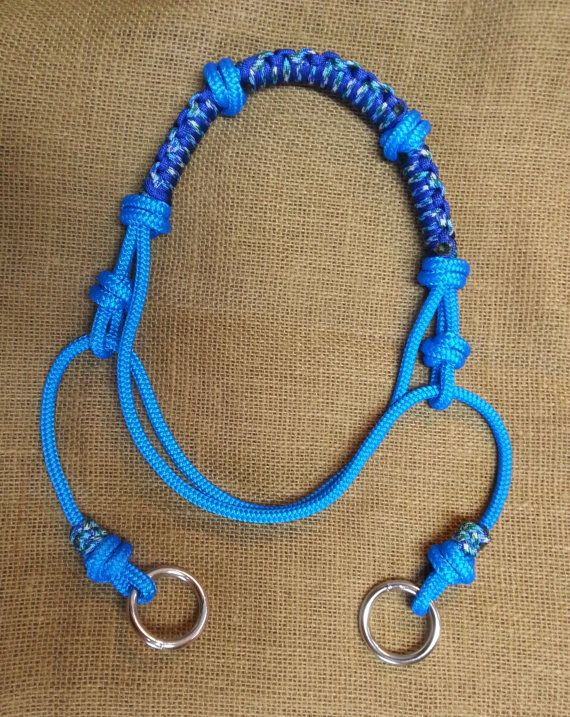 Indian Bosal PREMADE and READY to SHIP! Blue Green Royal, Polyester Yacht Rope and Paracord Horse Size