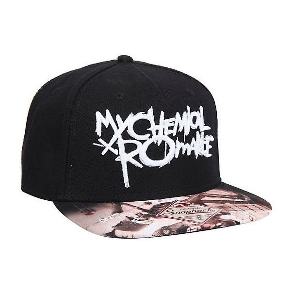My Chemical Romance Snapback Hat Hot Topic ($14) ❤ liked on Polyvore featuring accessories, hats, snapback hats, snap back hats, acrylic hat and brimmed hat