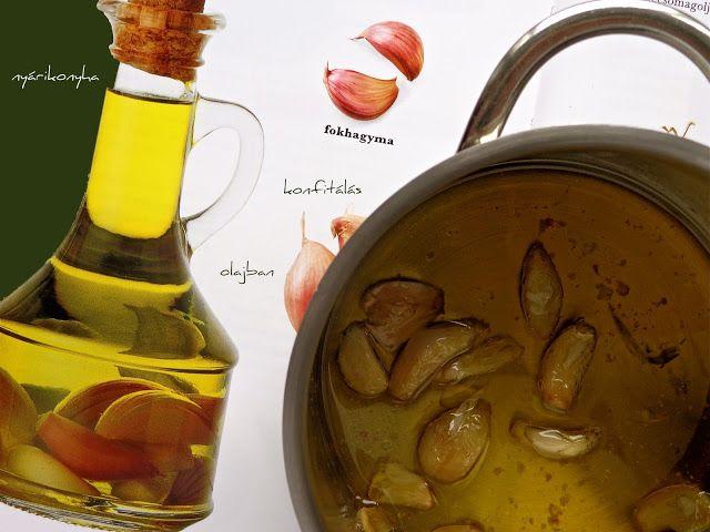 nyárikonyha: Konfitált fokhagyma, sült fokhagyma olajban.