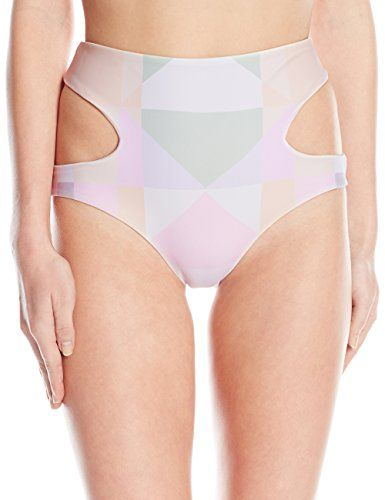 Mara Hoffman Women's Reversible Cut Out High Waisted Bikini Bottom, Diamonds Pastel Pink, Medium. Geo color-block bikini bottom with reversible solid back featuring high-waisted silhouette with cutouts at sides. Moderate seat coverage.