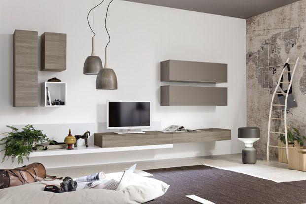 Neha meuble tv mural taupe et bois
